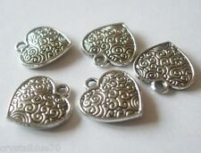 10 x  Love Heart Charms 16x15x3mm Pattern  Antique Silver Tone  Double Sided