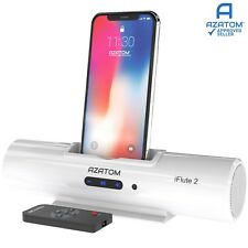 iPhone Docking Station Speaker iPod charger Portable Dock AZATOM iFlute 2 White