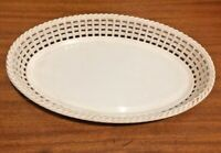 1960s 1970s Vintage Retro White Oval Serving Tray Plastic Wicker Basket Weave