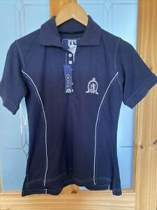 """Ladies Tagg Equestrian Smart Blue Fitted Polo Horse Riding T Shirt S 10 34""""  NWT"""