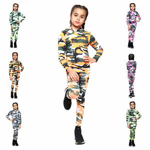 Girls Tracksuit Camouflage Hooded Top and Leggings Neon Army Camo Set 5-14 Years