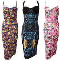 1s Womens Celeb Cami Strappy Sleevless Floral Print Bodycon Midi Dress Size 8-14