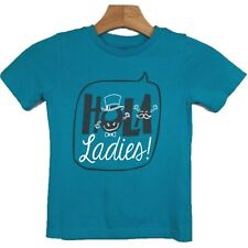 Wonderkids 5T Boys T Shirt Graphic Tee Hola Ladies Casual Blue Short Sleeve