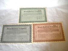 Scripophily Vintage Brazil Railway company Bonds shares certificates 1931