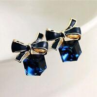 Women Fashion Cute Bowknot Cube Crystal Ear Studs Rhinestone Earrings Jewelry