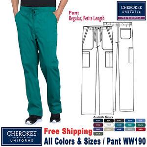 Cherokee Scrubs PROFESSIONAL Men's Drawstring Cargo Pant WW190 Regular Petite