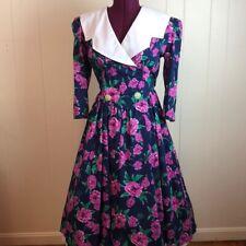 New listing Size 12 Vtg 80s/90s Rockabilly Wide Collar Floral Carnation Dress Teacher