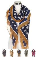 ScarvesMe Women's Fashion Patriotic USA American Flag Star Oblong Long Scarf