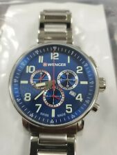 New Wenger Swiss Attitude Chronograph  Blue Dial Mens Watch Msrp $325 No Reserve