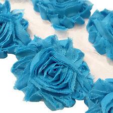 "1 yard turquoise blue 2.5"" shabby chiffon rose trim flowers DIY baby headband"