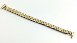 Vintage Gold Plated Stretch Watch Band Stainless Steal 5.5in to 8.5in I683