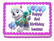 PAW PATROL EVEREST edible party cake topper decoration frosting sheet image
