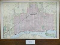 """Vintage 1900 DETROIT MICHIGAN Map 22""""x14"""" ~ Old Antique Original CORKTOWN"""