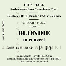 Blondie/Debbie Harry Concert Coasters Ticket September 1978 High quality Coaster