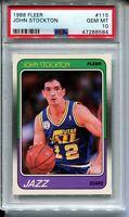 1988 Fleer Basketball #115 John Stockton Rookie Card RC Graded PSA GEM MINT 10