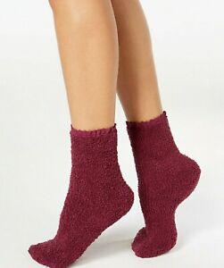 Charter Club Women's Lace-Trim Supersoft Socks Burgundy 9-11
