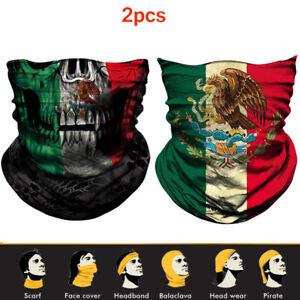 2pcs Mexico Skull Neck Gaiter Scarf Headwear Biker Bandana Face Scarf Balaclava