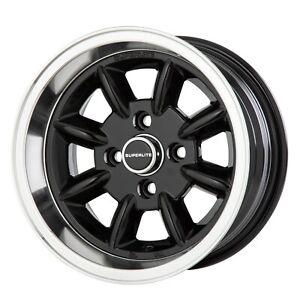 7x 13 Superlite Deep Dish Wheels 4 x 98 PCD Set of 4 Black