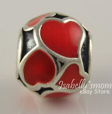 RETIRED Genuine PANDORA Silver/Enamel RED HOT LOVE Heart Charm/Bead 790436ER NEW