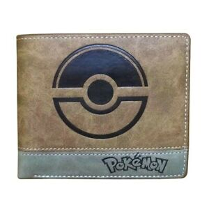 Pokemon Brown Wallet  Pokeball Trifold Coins Cards Notes