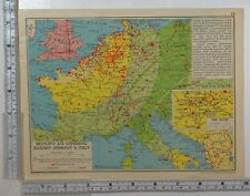1941 WW2 MAP BRITAIN'S AIR OFFENSIVE AGAINST GERMANY & ITALY BOMBED AREA RUHR