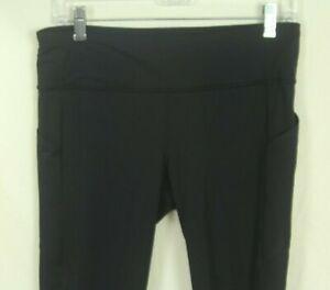 "Lululemon Pace Rival Crop Legging 22"" Size 8 Black Luxtreme Pockets Mesh Panel"