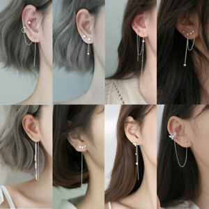 925 Silver Zircon Clip Long Tassel Stud Earrings Drop Line Cuff Women Jewellery