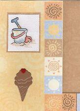 Seaside and Beach Cross Stitch Cards - Handmade - Boats, Seashells, Sunshine