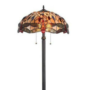 Tiffany Style Floor Lamp Bronze Fin Stained Glass Vintage Dragonfly Accent Theme