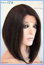 BRAZILIAN Remy Human Hair Swiss Lace Front 4X4 Base Parting Wig Nat Black 1236