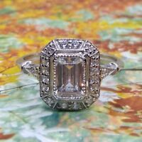 1.60 Ct Emerald-cut Diamond Antique Art Deco Engagement Ring 925 Sterling Silver