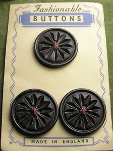 Vintage buttons on original card, brown