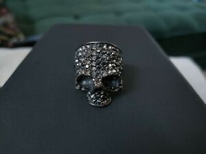 Faux Jewelled Heavy Skull Ring Gothic Punk