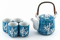 Japanese Asian Lucky Bamboo Blue and White Design Tea Set Ceramic Teapot with 4