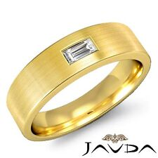 14k Yellow Gold 6.5mm Ring 0.15Ct Solitaire Baguette Diamond Mens Wedding Band