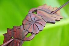 Carved wooden FLOWER Hair Pin Barrette Slide Clip Clasp LEAF Sono wood handmade