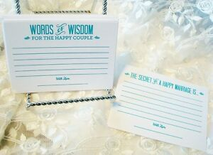 Set of 36 Tiffany Blue Wedding Advice Cards Words of Wisdom for Wedding Couple