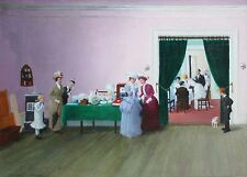 LESTER AMBROSE-NY Realist-Original Signed Oil-Victorian Wedding Party