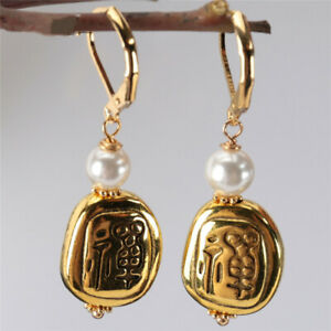 Natural Buddha Gold-plated pendant White Pearl Earring Real Dangle Luxury Earbob