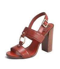 [8575-1]Tory Burch Women's Fletcher High Heel Sandal Rust Red size 7 M $350