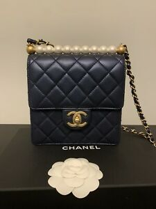 Chanel Chic Pearl Quilted Flap Bag in Navy