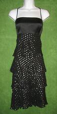 Maggy London Black Silver Silk Satin Polka Dot Tiered Social Dress 10 $89