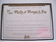 MATTEL MERLIN & MORGAN LE FAY BARBIE KEN CERTIFICATE OF AUTHENTICITY COA ONLY