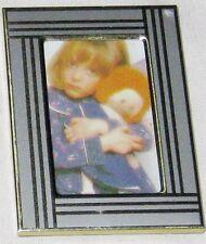 "Silvertone Stripe Goldtone Metal 1 3/4 X 2 1/2"" Picture Frame"