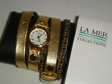 La Mer Collections Womens Yellow Gold Leather Strap Chain Wrap Watch Round Roman