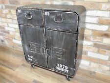 INDUSTRIAL RECLAIMED RUSTIC BLACK METAL STORAGE CABINET SIDEBOARD WHEELS(DX4881)
