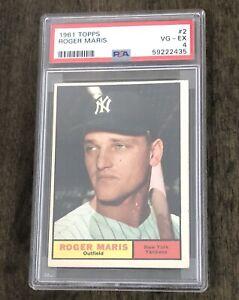 Roger Maris PSA 4 1961 Topps Card, HR Record Year, New York Yankees