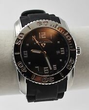 Swiss Legend Commander Mens Watch, SS Case, Black Textured Dial, Silicone Strap