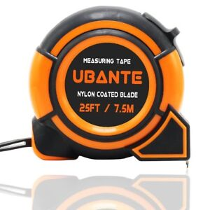 NEW UBANTE Orange Measuring Tape Measure 1-Inch x 25-Foot Retractable Heavy Duty