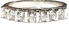 anello veretta in oro bianco 18 kt con 7 Diamanti ct 0,62 F VVS1 n 14,5